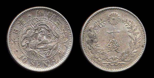 Japanese silver 10 sen coin 1905