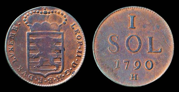 Luxembourg copper 1 sol coin 1790