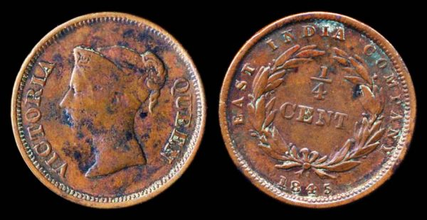British colonial Straits Settlements quarter cent coin 1845