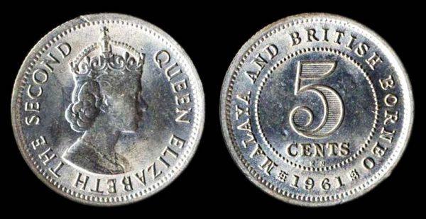 Malaya and British Borneo 5 cents coin 1961KN