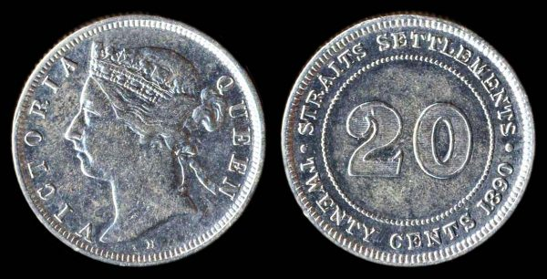 British colonial Straits Settlements silver 20 cent coin 1890