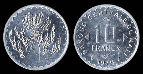Mali aluminum coin 1976