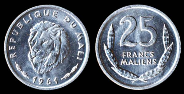 Mali aluminum coin 1964 with lion motif