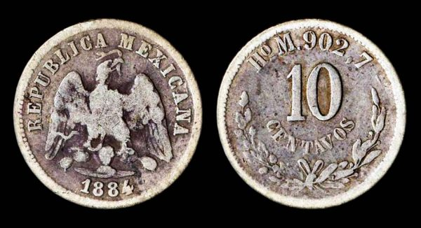 Silver 10 centavos coin of Mexico, 1884, Hermosillo mint