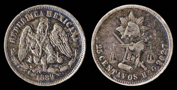 Silver 25 centavos coin of Mexico, 1889, Hermosillo mint