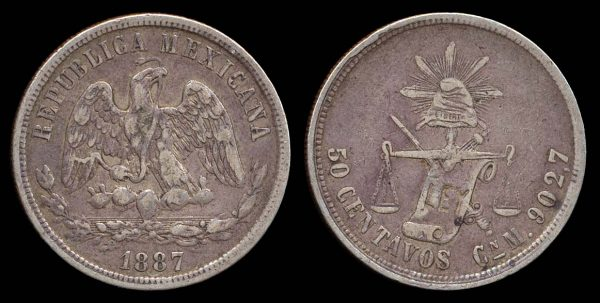 Silver 50 centavos coin of Mexico, 1887, Cuernavaca mint