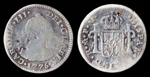 half real silver coin of Spanish colonial Mexico 1775