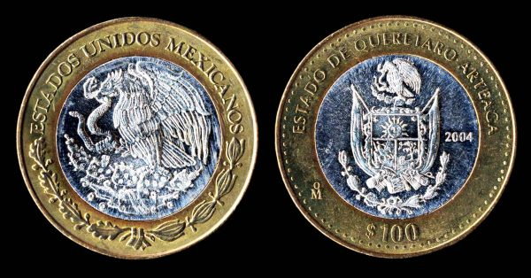 Mexican silver commemorative coin for Queretaro 2004