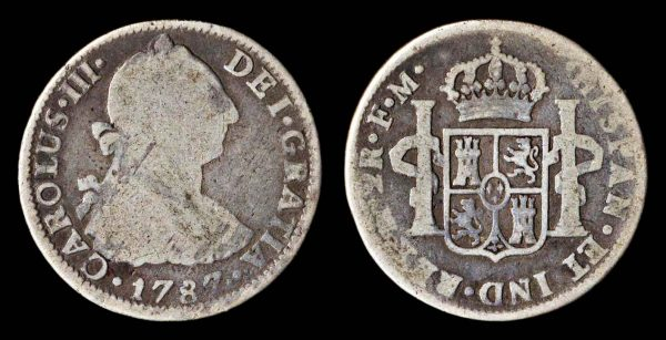 2 reales silver coin of Spanish colonial Mexico 1787