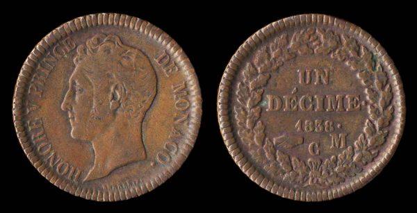 Monaco copper decime coin 1838, struck variety