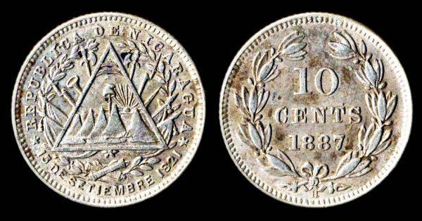 Nicaragua silver 10 centavos coin 1887