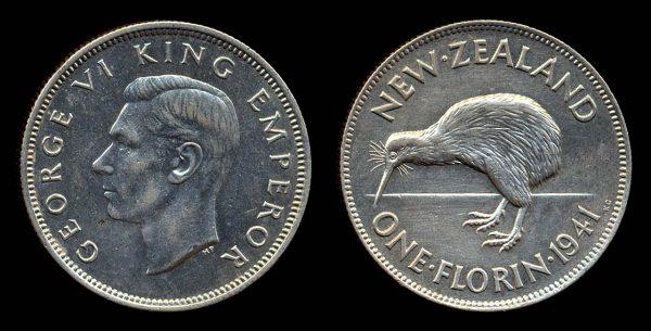 New Zealand silver florin coin with kiwi bird, 1941