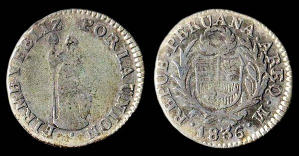 Peru half real silver coin 1836, Arequipa mint
