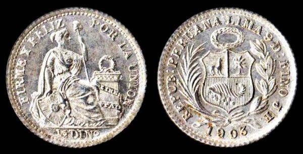 Peru silver half decimo coin 1903 overdate