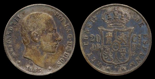 Philippines, Spanish colonial silver 20 centavos coin 1885