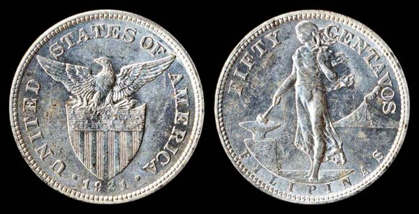 Philippines, American colonial silver 50 centavos coin 1921