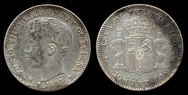Puerto Rico silver 20 centavos coin 1895