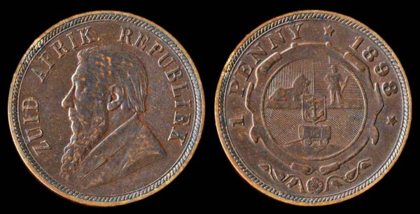 South Africa penny coin 1898 with Paul Kruger portrait