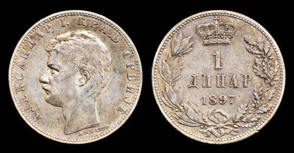 Serbia, silver 1 dinar coin 1897