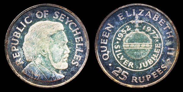 Seychelles silver 25 rupees commemorative coin 1977, jubilee of Queen Elizabeth