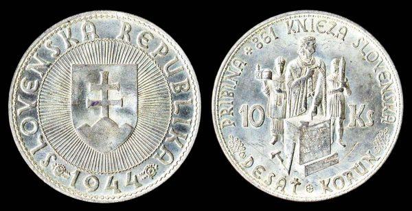 Slovakia silver 10 korun coin 1944