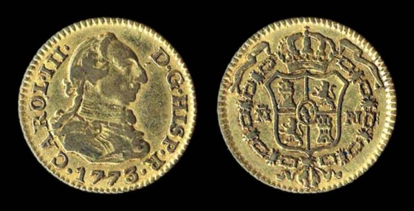 Spain, gold half escudo, Madrid mint 1773