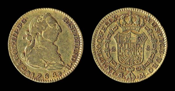 Spain, gold two escudos, Madrid mint 1788