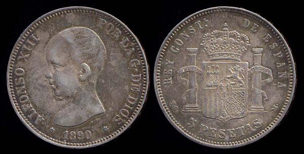 Spain, 5 pesetas silver coin 18990