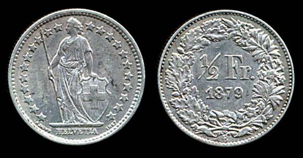 Switzerland, silver half franc 1879