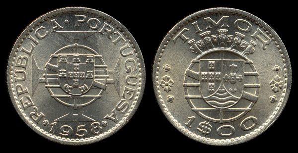 Timor, Portuguese colonial 1 escudo coin, 1958