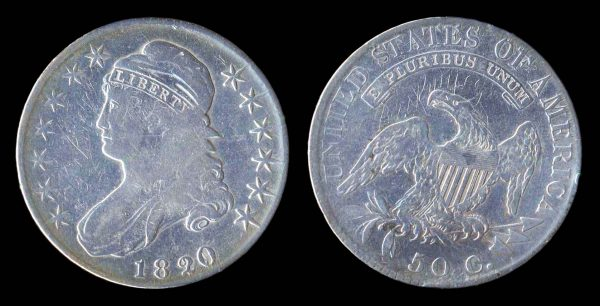 United States of America silver bust half dollar coin, 1820