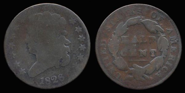 United States of America half cent coin 1826