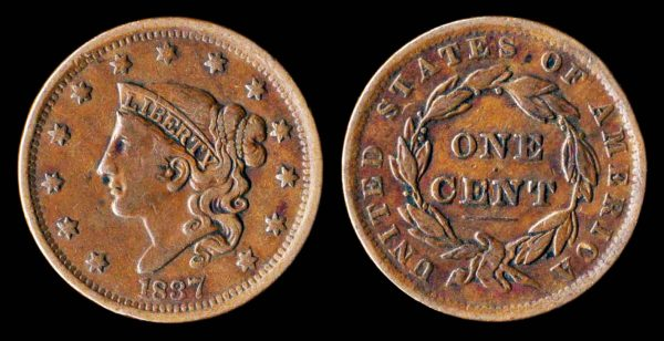 United States of America large cent coin 1837, with doodling