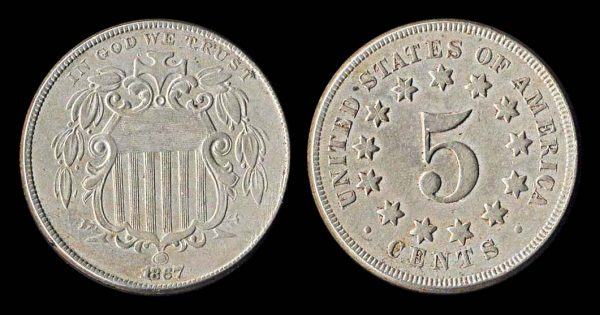 United States of America shield nickel 5 cent coin, no rays, 1867