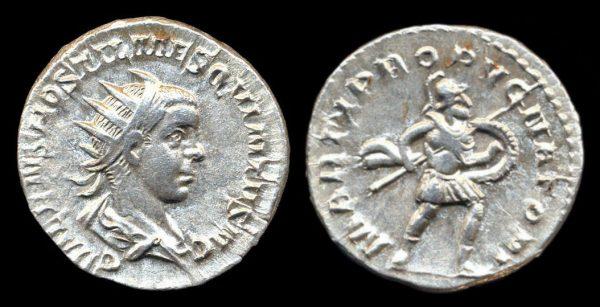 ROMAN EMPIRE, Hostilian, Caesar, 250-251 AD, silver, antoninianius