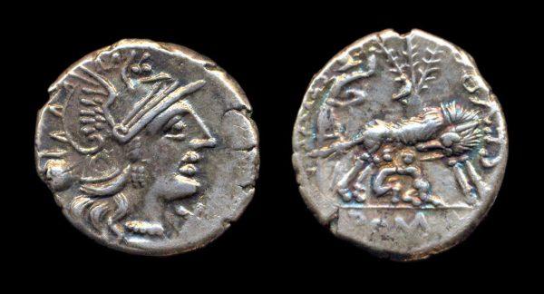 ROMAN REPUBLIC, Sextus Pompeius Fostlus, c. 137 BC, denarius