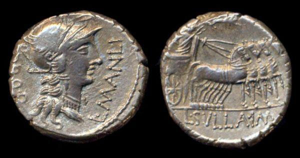 ROMAN REPUBLIC, L. Cornelius Sulla & L. Manlius Torquatus, 82 BC, denarius