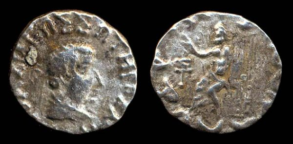 Indo-Greek silver coin of king Hermaios, lifetime issue