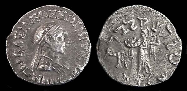 Indo-Greek silver drachm coin of king Menander