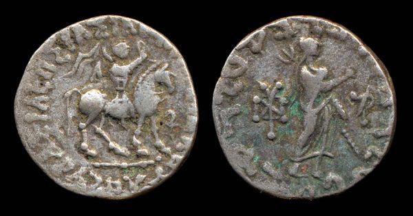 Indo-Scythian, Azes billon drachm, horseman with whip