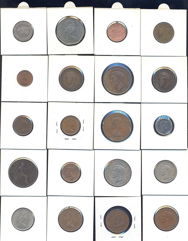 20 different United Kingdom coins