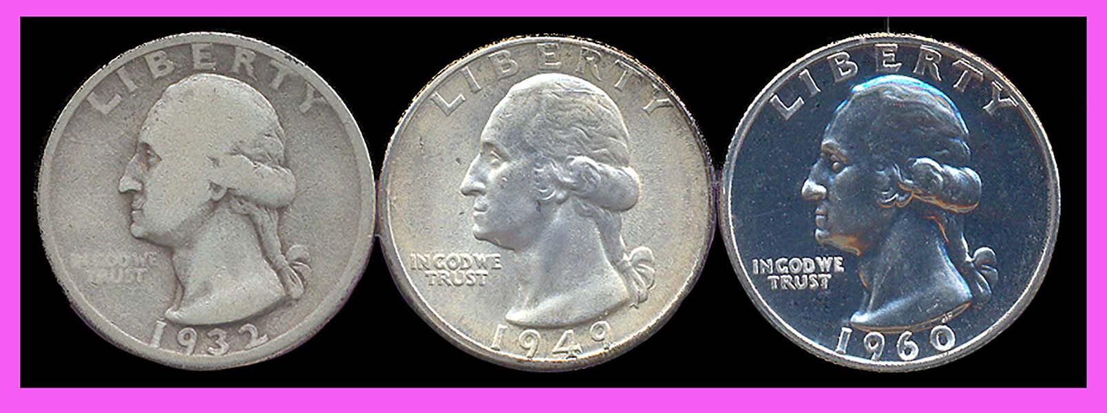 different grades of Washington quarters