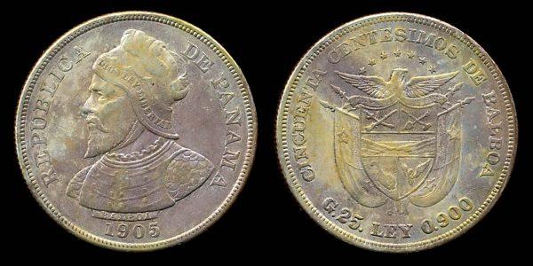 PANAMA, 50 centesimos, 1905