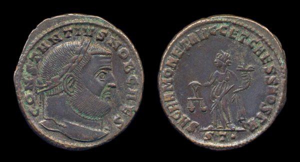 ROMAN EMPIRE, Constantius I, 305-306 AD, follis, Ticinum mint