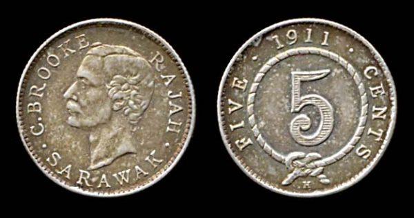 Sarawak 5 cents 1911