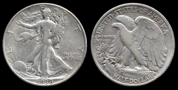 USA, 50 cents, 1938 D