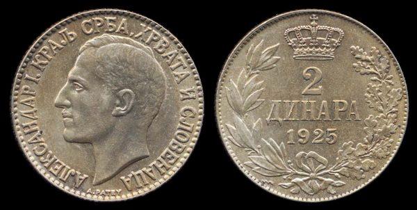 YUGOSLAVIA,  2 dinara, 1925 thunderbolt