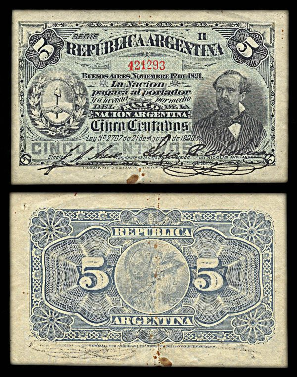 ARGENTINA, 5 centavos, 1.11.1891, P209