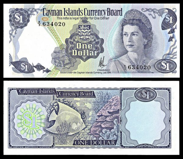 CAYMAN ISLANDS, 1 dollar, Law 1974, P5a