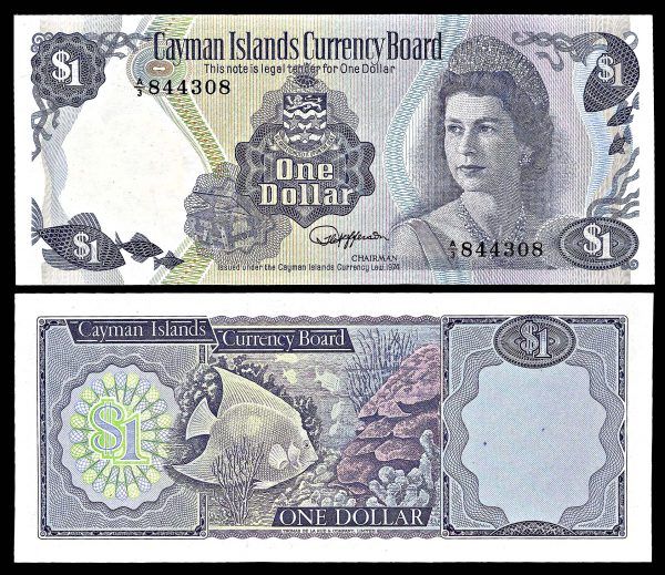 CAYMAN ISLANDS, 1 dollar, Law 1974, P5b